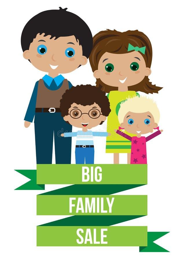 Stor lycklig familjförsäljning stock illustrationer