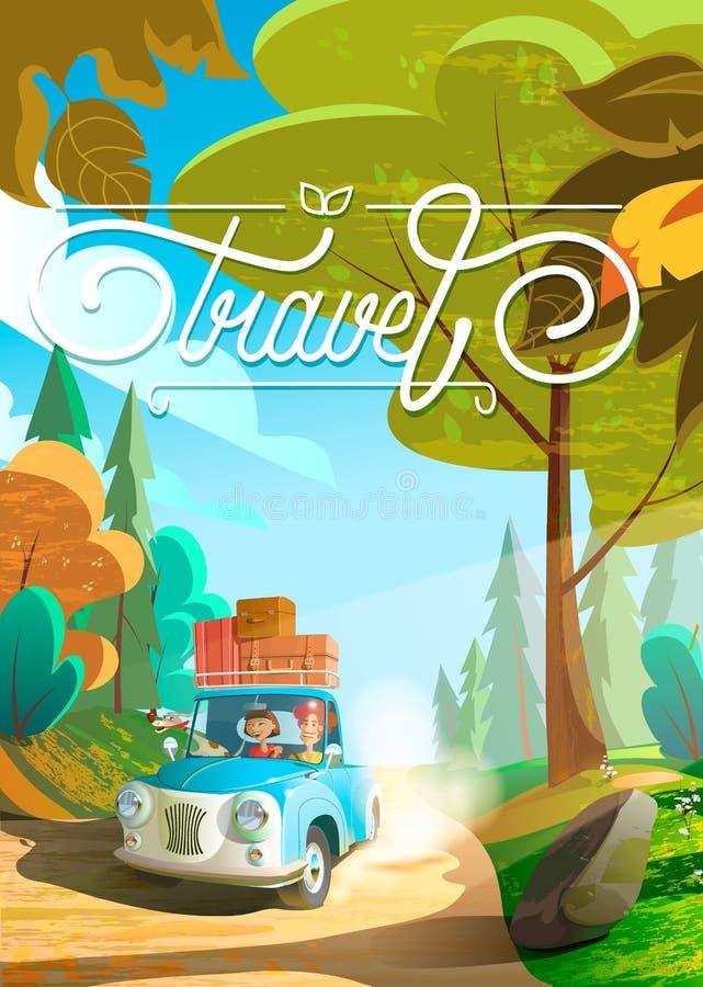 Stor lycklig familjresande med bilen Turism- och semestertema Illustration för tecknad filmlägenhetdesign stock illustrationer