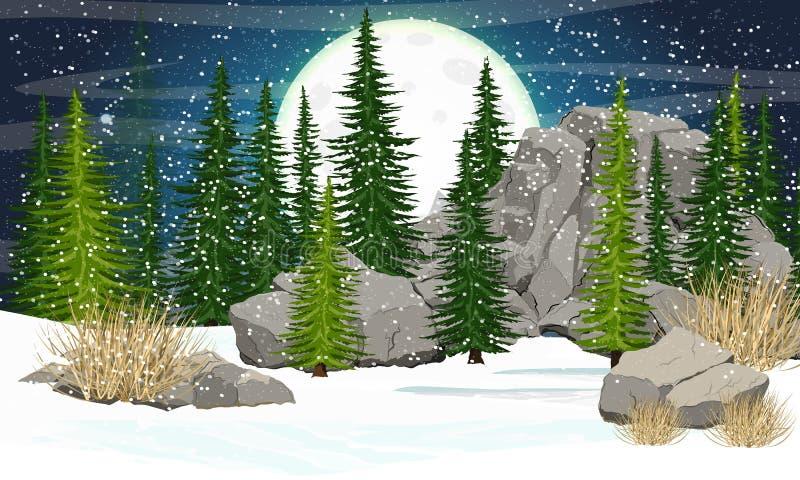 Stor måne med krater i natthimlen Prydlig skog, stenar och berg royaltyfri illustrationer