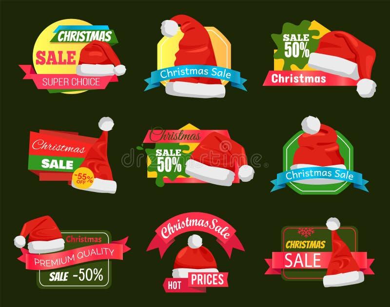 Stor mångfald av Santa Hats på shoppingetiketter royaltyfri illustrationer