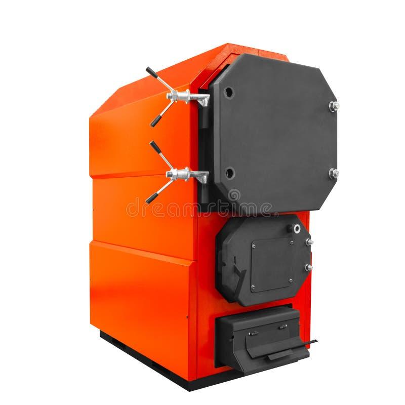 Stor modern röd industriell kokkärlvärmeapparat för hemmet som isoleras på vit bakgrund arkivfoton