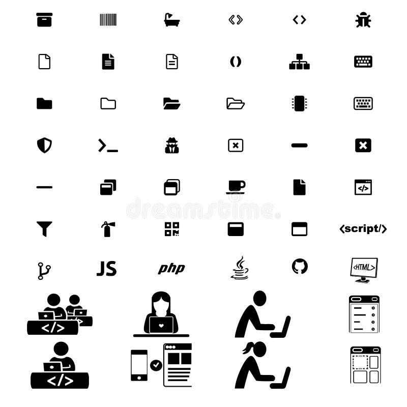Stor modern uppsättning av att programmera symboler med folkpictograms stock illustrationer