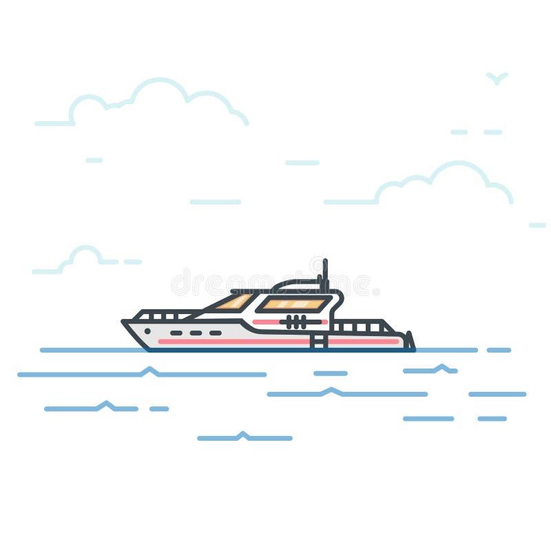 Stor modern yacht vektor illustrationer