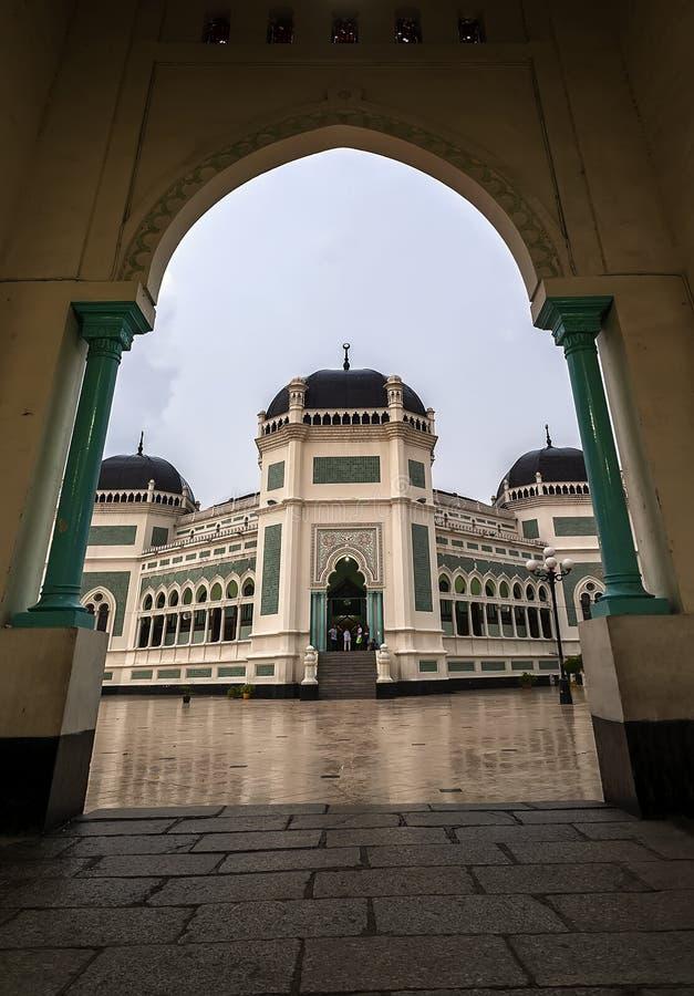 Stor moské av Medan eller Masjid Raya Al Mashun arkivfoton