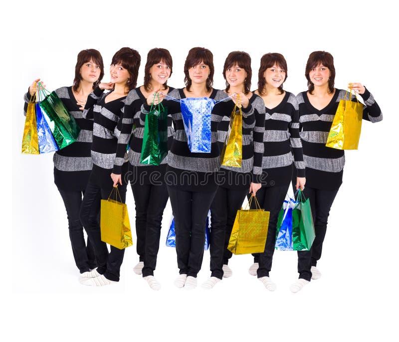stor multiple en shoppare fotografering för bildbyråer