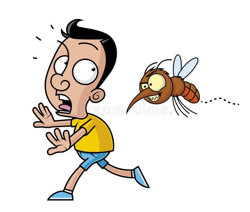 Stor mygga som förföljer en rinnande man royaltyfri illustrationer