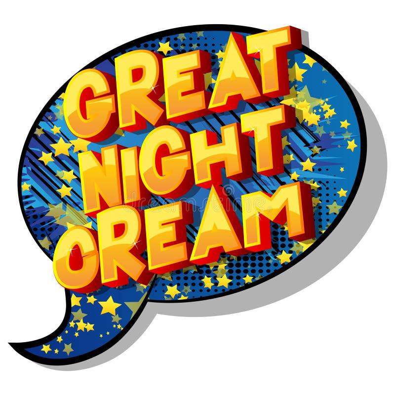 Stor nattkräm - vektor illustrerat humorbokstiluttryck stock illustrationer