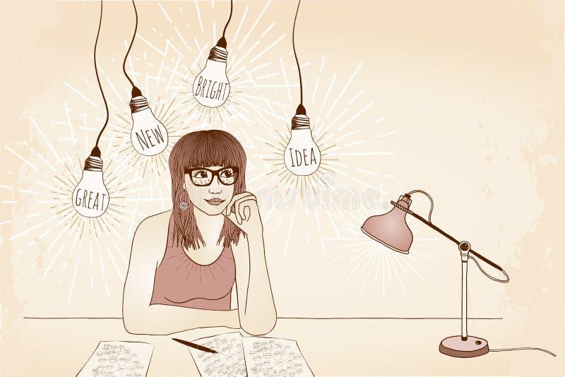 Stor ny ljus idé! stock illustrationer