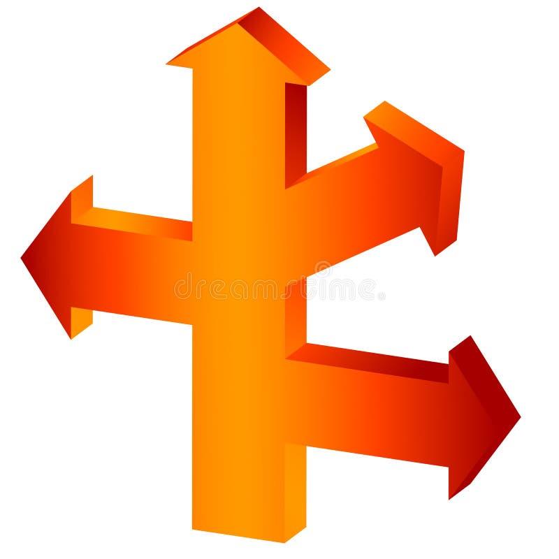 stor orange för pil stock illustrationer