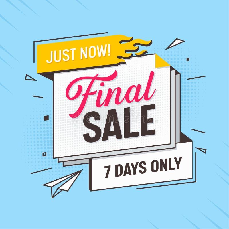 Stor orientering för sista Sale erbjudandebaner Mega rabattbandetikett Annonsering av specialt befordranpris för återförsäljnings stock illustrationer