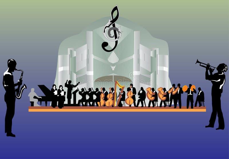 stor orkester för illustration royaltyfri illustrationer