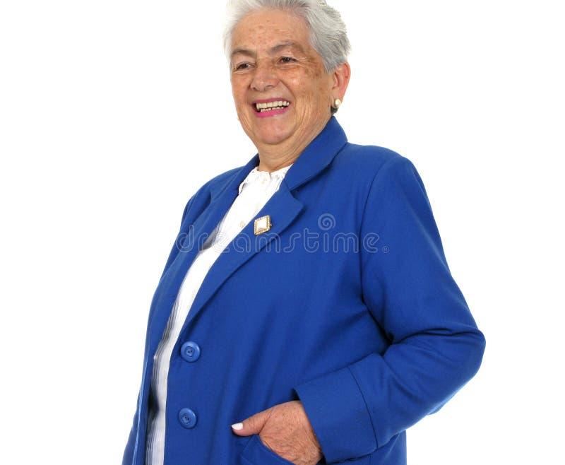 stor over kvinna för leendewhitwhite arkivbild