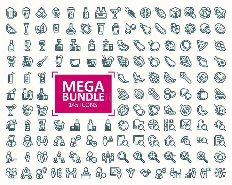 Stor packe, uppsättning av den fina linjen symboler för illustrationer perfekt PIXEL 32x32 vektor illustrationer