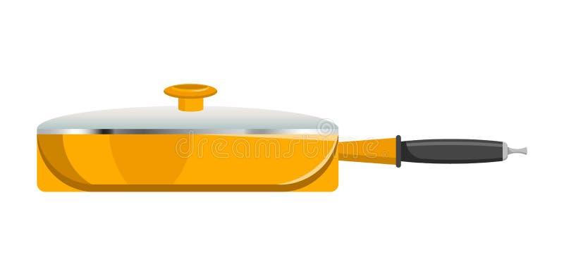 Stor panna med den Glass räkningen i ljus gul corpus stock illustrationer