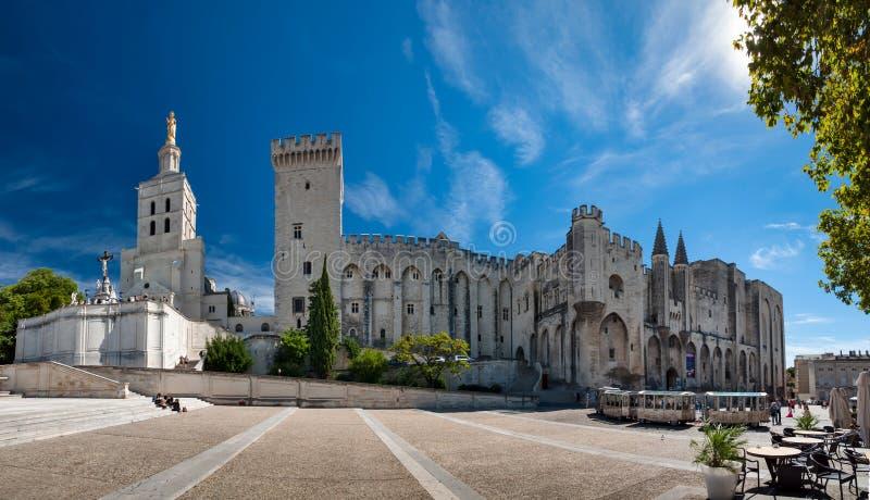 Stor panoramautsikt doms av för Palais des Papes och Notre Dame des- royaltyfria foton