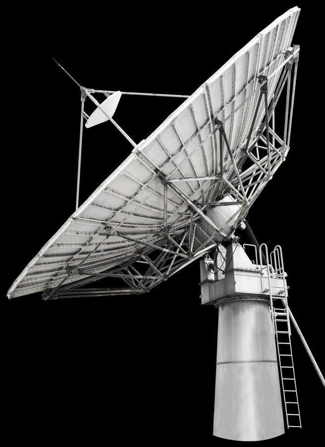 Stor parabolantenn för satellit- maträtt som planläggs för transatlanti fotografering för bildbyråer