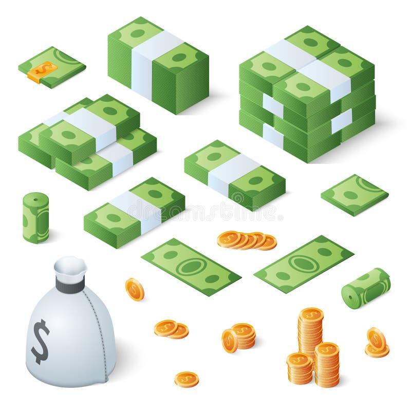 Stor pengaruppsättning Dollarräkningar och guld- mynt Isometrisk vektorillustration royaltyfri illustrationer