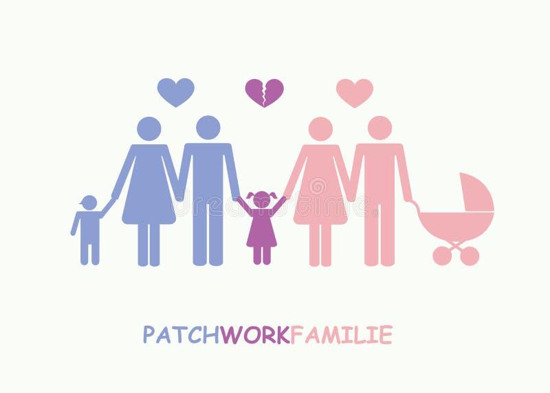 Stor pictogram för begrepp för patchworkfamiljavskiljande royaltyfri illustrationer