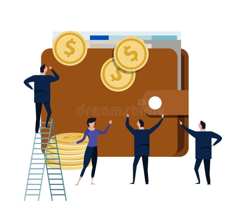 Stor plånbok med den lilla folkaffärsmannen runt om den begrepp av kontoret som klarar av pengardollarkassa stock illustrationer