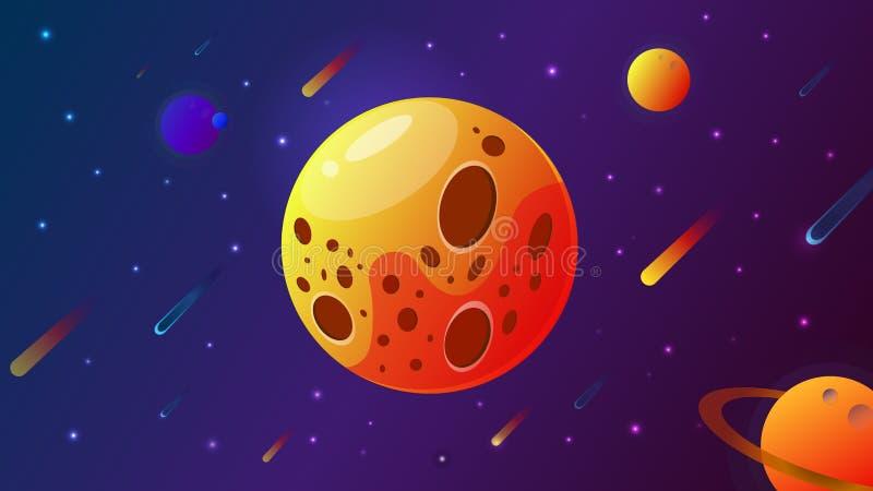 Stor planet med krater ocks? vektor f?r coreldrawillustration Utrymmebakgrund med stjärnor, planeten och komet Garnering f?r desi stock illustrationer