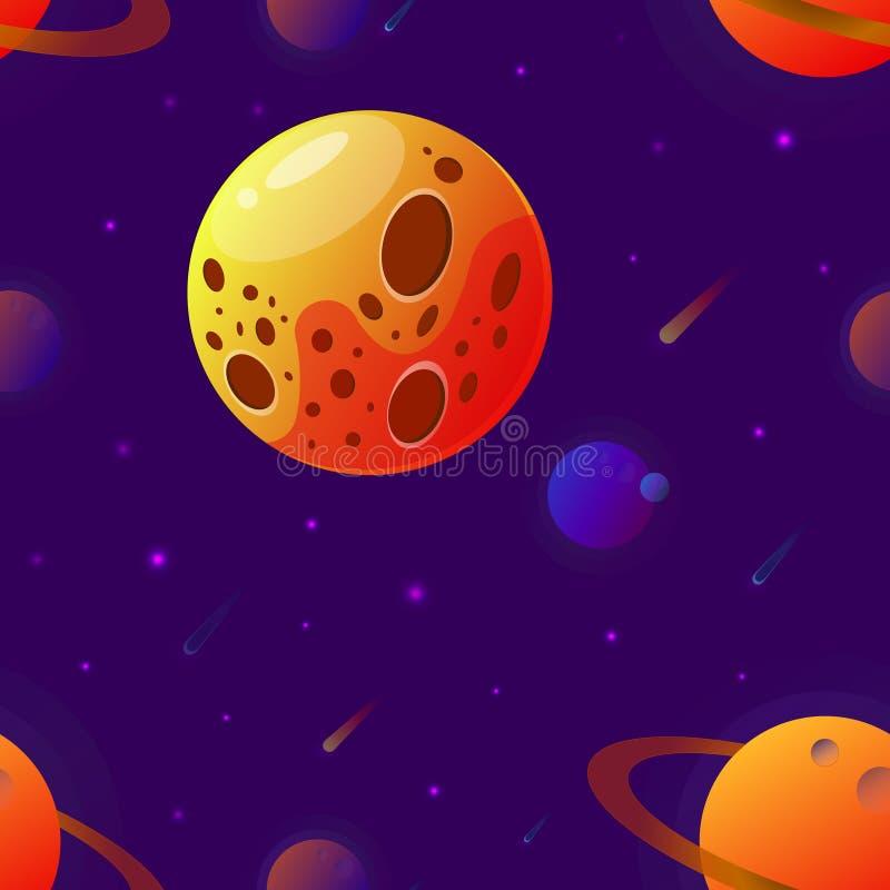 Stor planet med krater ocks? vektor f?r coreldrawillustration Utrymmebakgrund med stjärnor, planeten och komet Garnering f?r desi vektor illustrationer