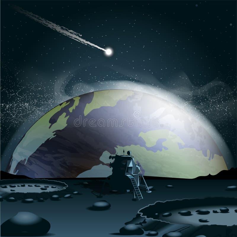 Stor planetjord som ses från månen i 3d vektor illustrationer