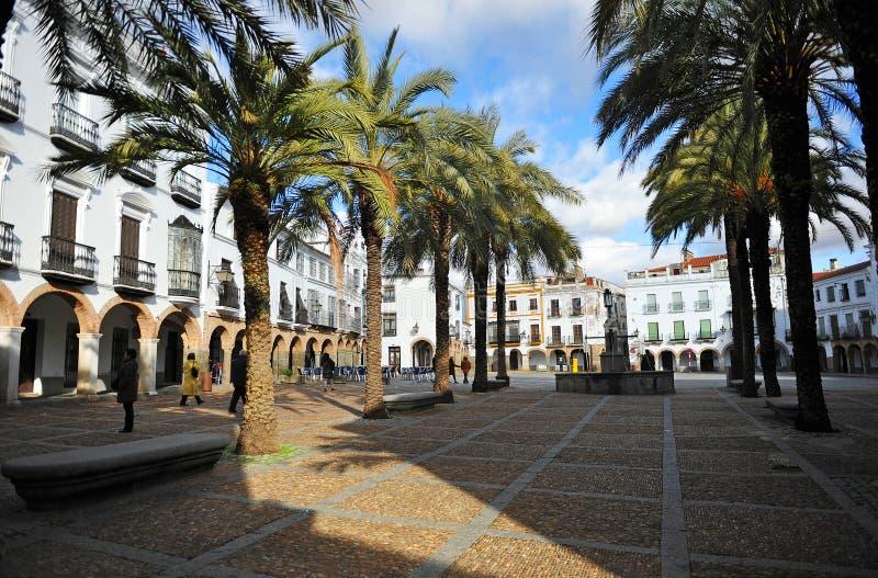 Stor Plaza, stor fyrkant, Zafra, landskap av Badajoz, Extremadura, Spanien royaltyfri foto