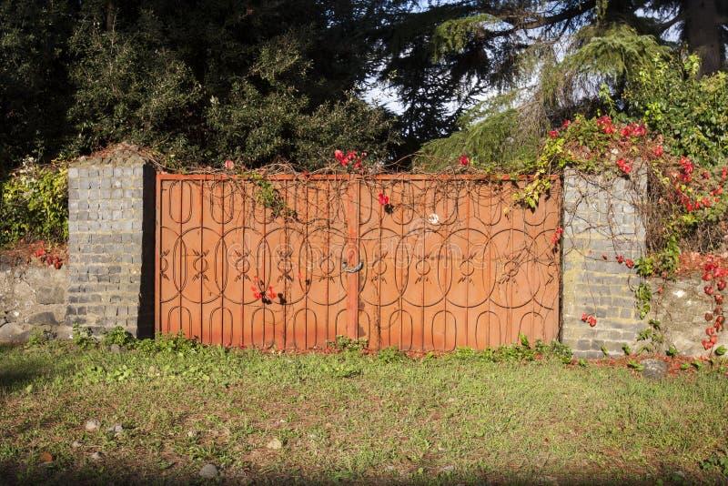 Stor port för järn som täckas med många blommor arkivfoton