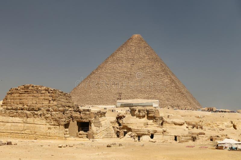 Stor pyramid av Giza i det Giza pyramidkomplexet, Kairo, Egypten arkivbild