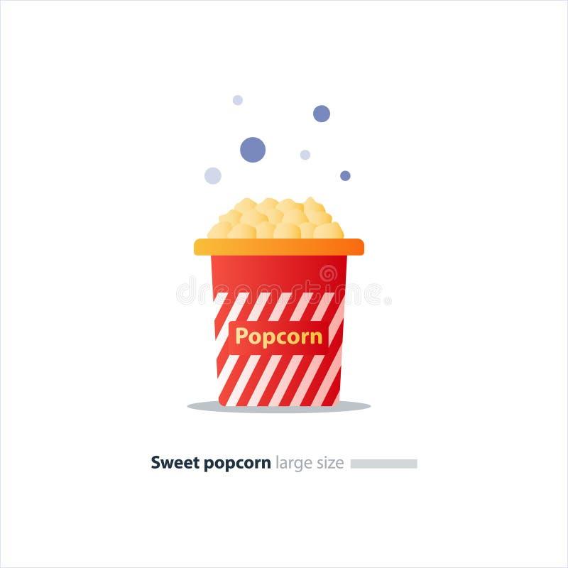 Stor röd ask med popcorn vektor illustrationer