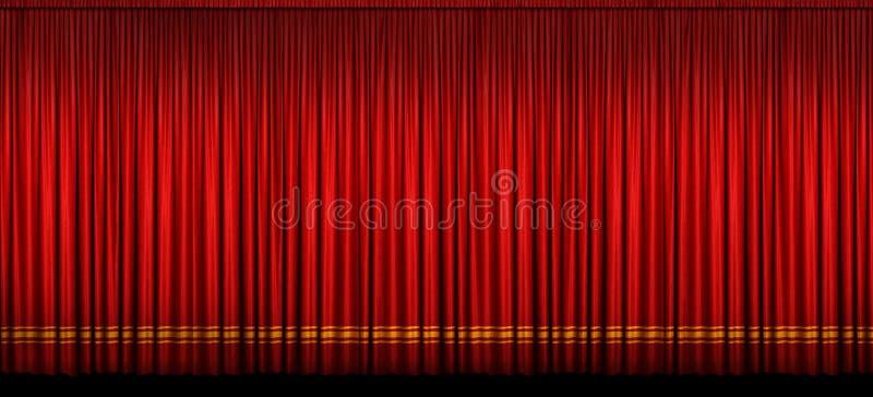 stor röd etapp för gardin arkivfoto