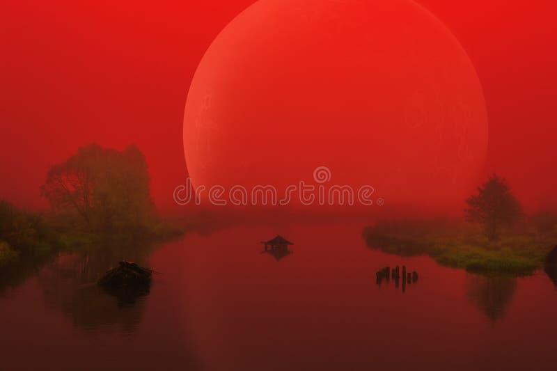 Stor röd främmande planet över den dimmiga floden royaltyfri bild