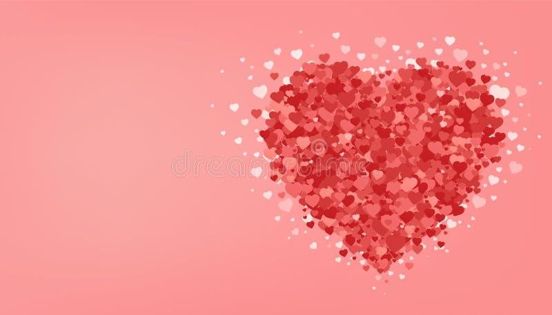 Stor röd hjärta på rosa bakgrund valentin för dag s Romantiskt hälsningskort Festlig affisch för förälskelse stock illustrationer