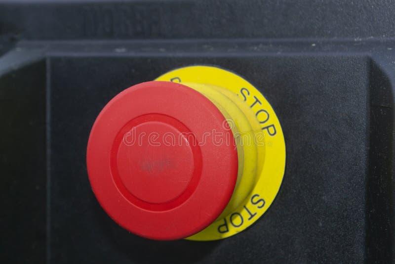 Stor röd knapp med ordstoppet royaltyfri fotografi