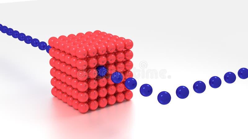 Stor röd kub som göras av stort databegrepp för sfärer royaltyfri illustrationer