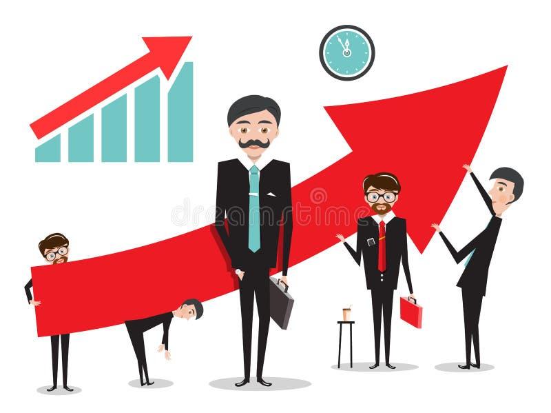 Stor röd pil med affärsmän royaltyfri illustrationer