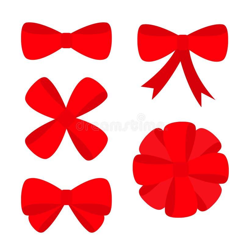 Stor röd uppsättning för symbol för bandjulpilbåge Garneringbeståndsdel för giftboxgåva Plan design Vit bakgrund isolerat vektor illustrationer