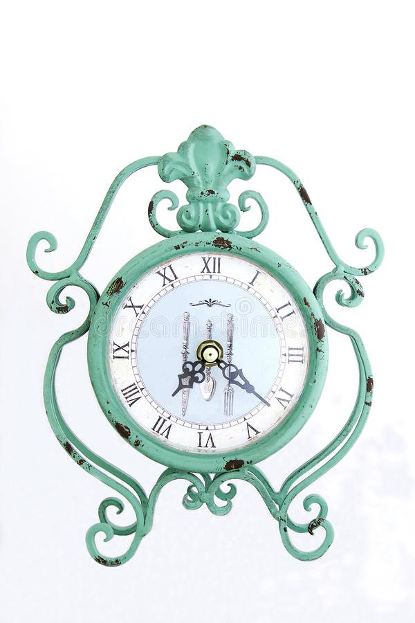Stor retro klocka - grön ringklocka fotografering för bildbyråer