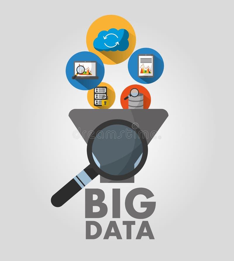 Stor säkerhet för överföring för moln för analys för lagring för datafiltermapp royaltyfri illustrationer
