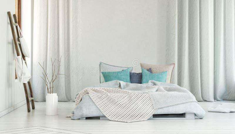 Stor säng i rum med långa vita gardiner stock illustrationer