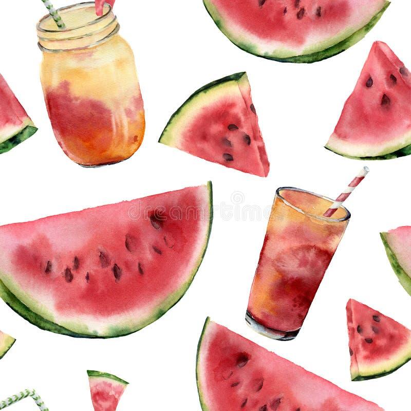 Stor sömlös modell för för vattenfärgvattenmelon och coctail Räcka den målade vattenmelonskivan med fruktcoctailen som isoleras p stock illustrationer
