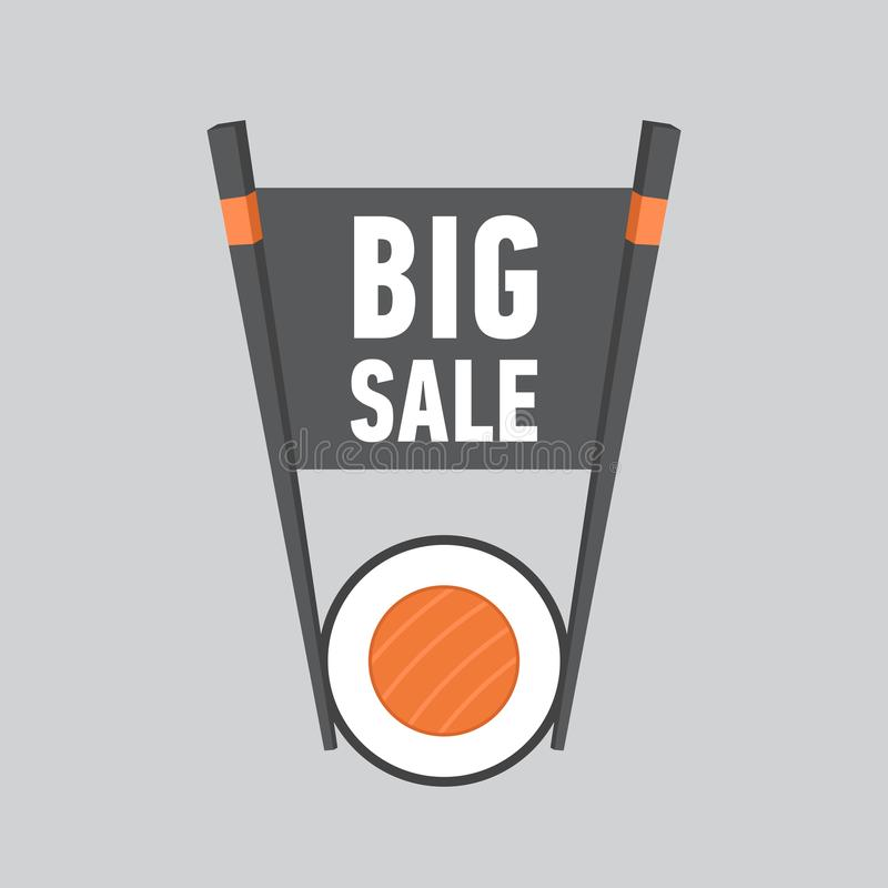 Stor Sale etikett för sushistång stock illustrationer