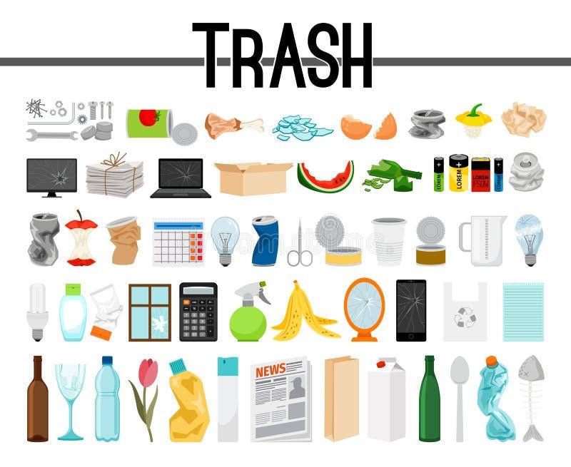 Stor samling av avfall och avskräde stock illustrationer