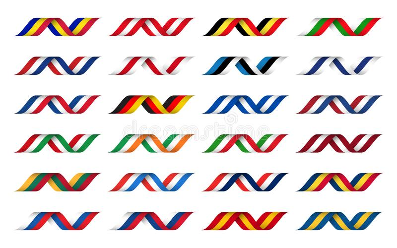 Stor samling av band med färger av Europa stater, modern krabb apperance, enkla symboler vektor illustrationer
