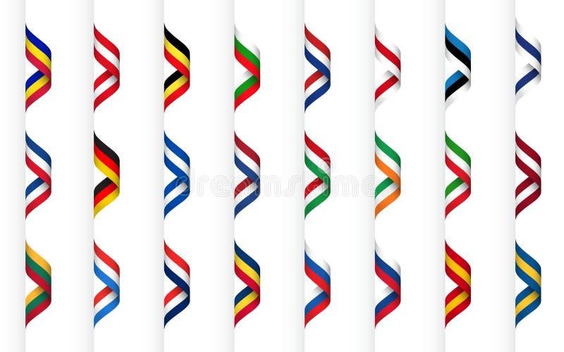 Stor samling av band med färger av Europa stater, modern krabb apperance, enkla symboler royaltyfri illustrationer