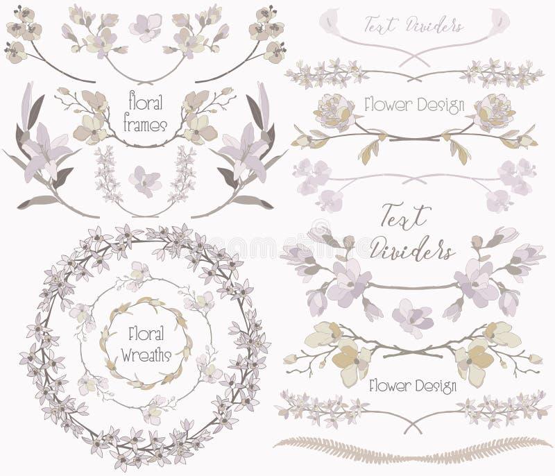 Stor samling av beståndsdelar för blom- design, avdelare, ramar vektor illustrationer