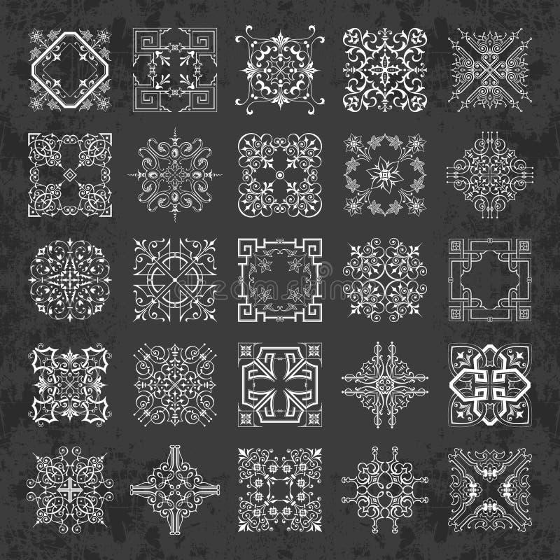 Stor samling av dekorativa calligraphic prydnader i tappningstil på en svart tavlabakgrund royaltyfri illustrationer