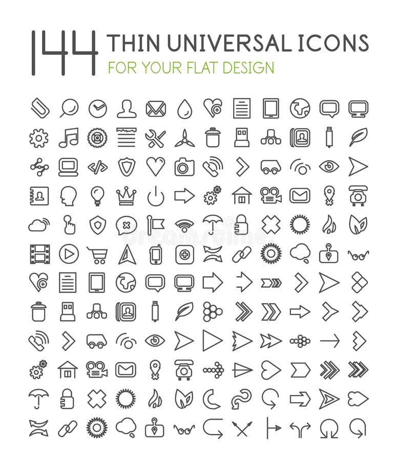 Stor samling av den tunna universella rengöringsduksymbolsuppsättningen vektor illustrationer