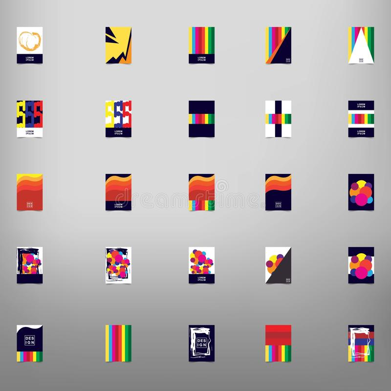Stor samling av för broschyrvektor för 25 affär designen, modern orienteringsmallpresentation vektor illustrationer