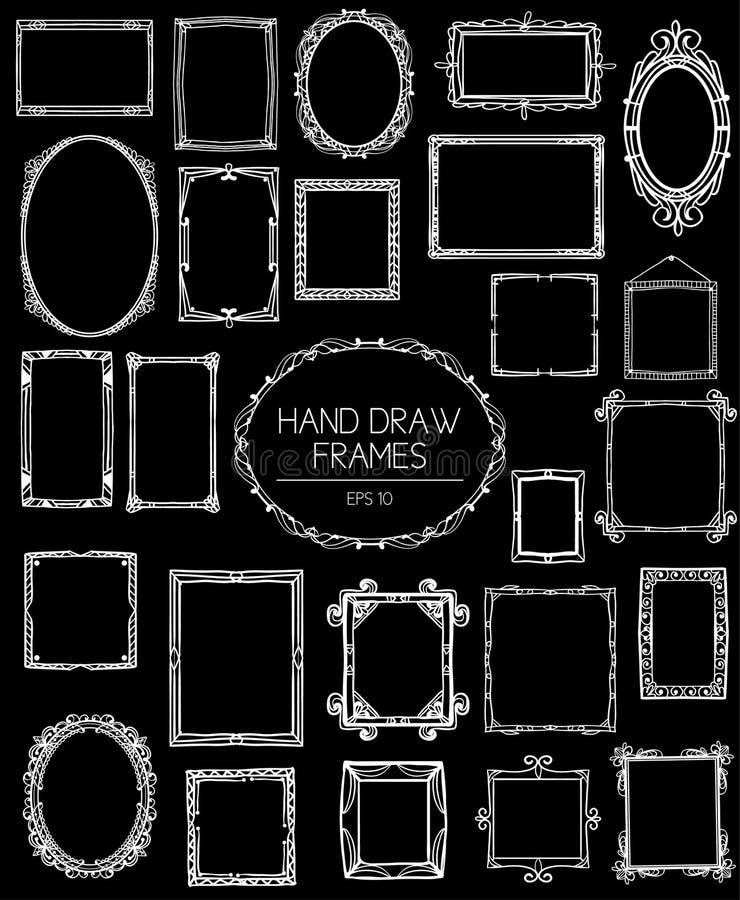Stor samling av härliga handattraktionramar tappning för stil för illustrationlilja röd stock illustrationer